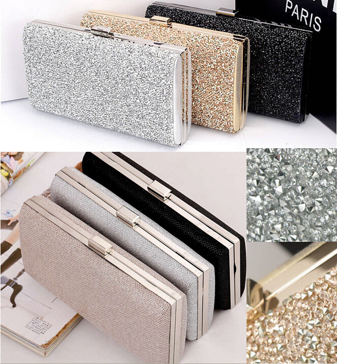 Woman Evening Bag Women Diamond Rhinestone Clutches Crystal Day Clutch Wallet Wedding Purse Party Banquet Black Gold Silver