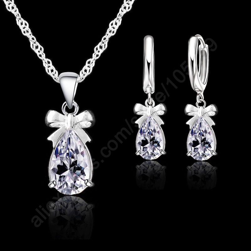 Gift set 925 real sterling silver with white gemstone for How do i clean sterling silver jewelry