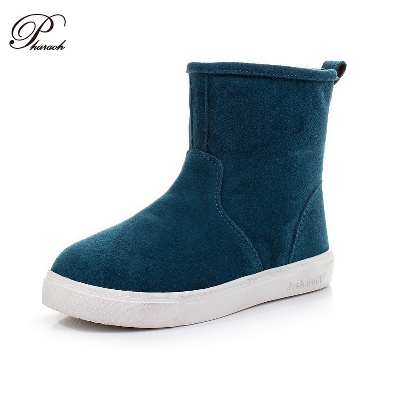 17cd2b52961 Genuine Leather winter women ankle boots shoes Candy colors 35-43 ...