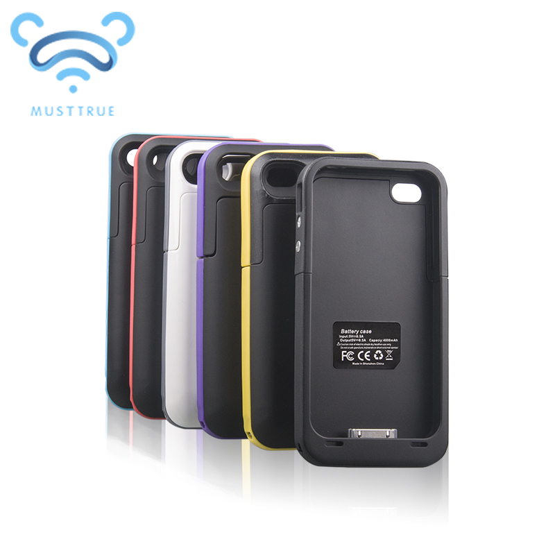 detailed look f9434 0e592 2015 new 4000mAh Rechargeable External Battery Backup Charger Case Cover  Pack Power Bank mobile phone supply for iPhone 4 4S
