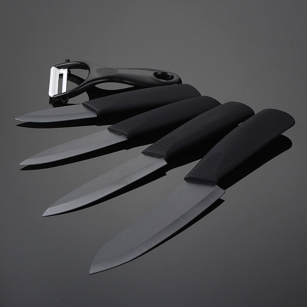 3 4 5 6 Inch Ceramic Knife Set Black Handle Paring Fruit Utility Chef Home Kitchen Knives With Peeler Scabbard Sharp Quality