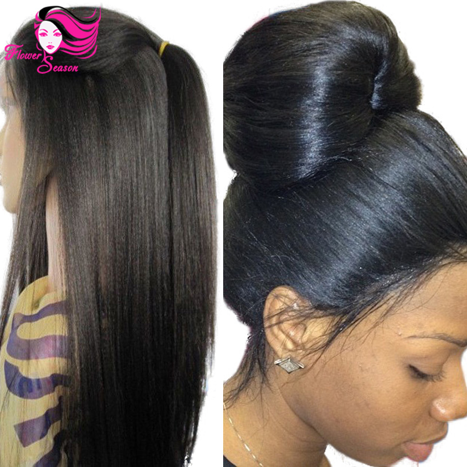 4x4 Silk Top Glueless Full Lace Wigs Light Yaki Brazilian