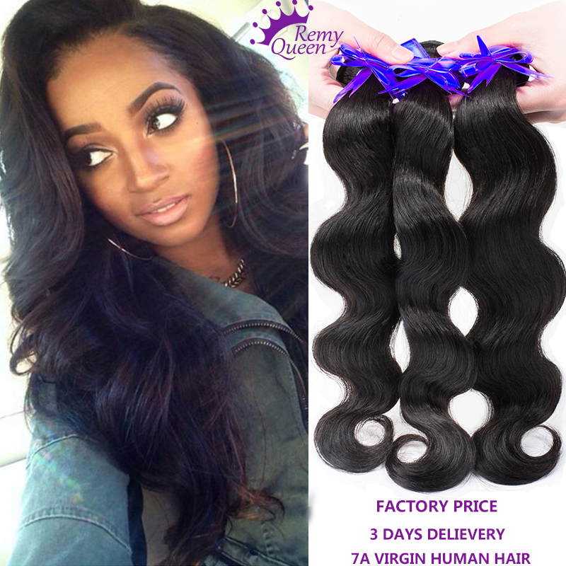 Remy Queen Hair 6a Unprocessed Peruvian Hair Weave Top Grade Cuticle