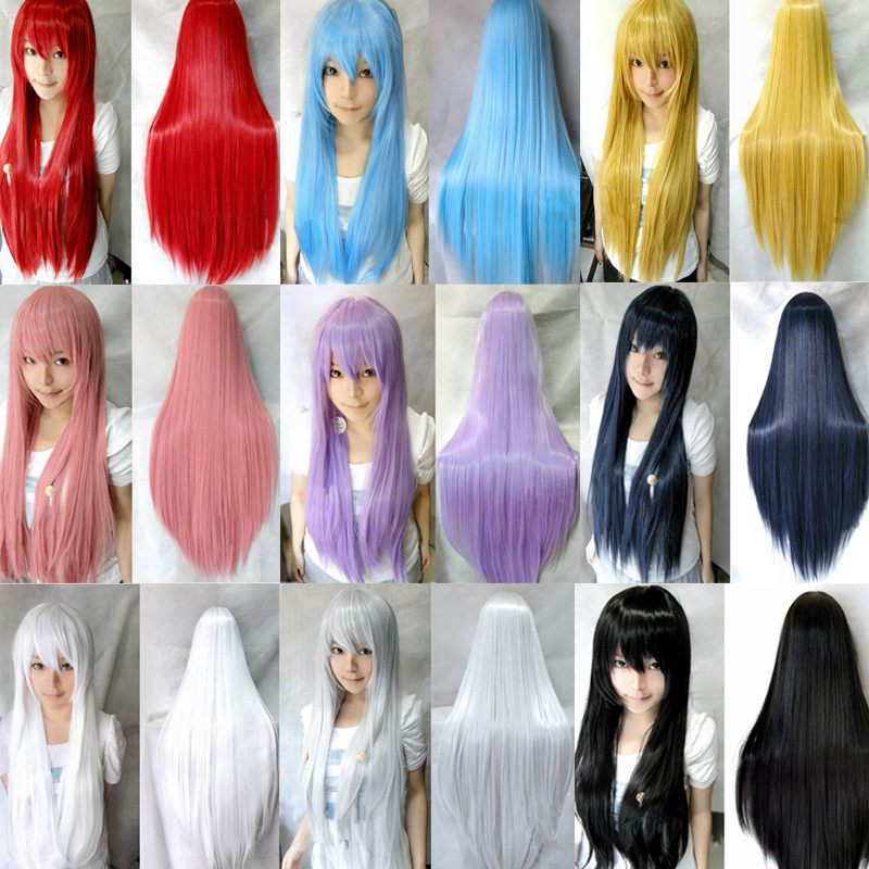 8 colors women heat resistant Pink Black Blue Red Yellow white Blonde Purple  straight cosplay wigs 80cm efc581176a