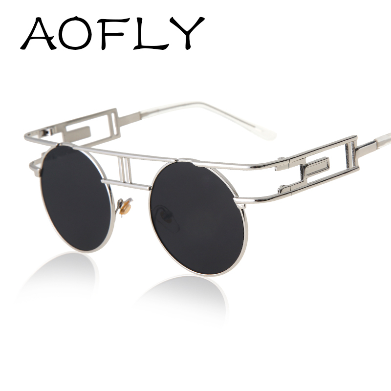 AOFLY Fashion Metal Frame Steampunk Sunglasses Women Brand Designer Unique  Men Gothic Sun glasses Vintage Oculos De Sol Feminino 06127aa80d