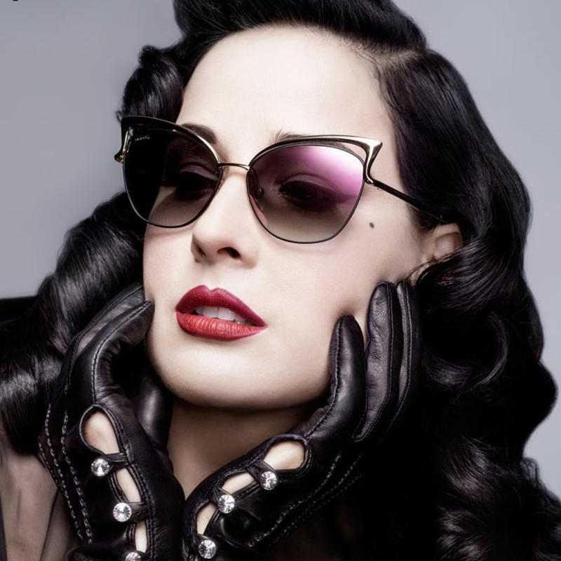 9a317f57040 2015 New Metal Frame Dita Sexy Cat Eye Sunglasses for Women Coating Brand  vintage sun glasses
