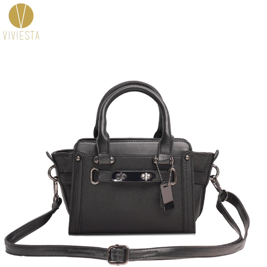 DOUBLE TURNLOCK CROSSBODY BAG – Women s Fashion Designer Inspired  Colorblock PU Leather Small Shoulder Satchel Sling Bag Handbag d14d4a0903753