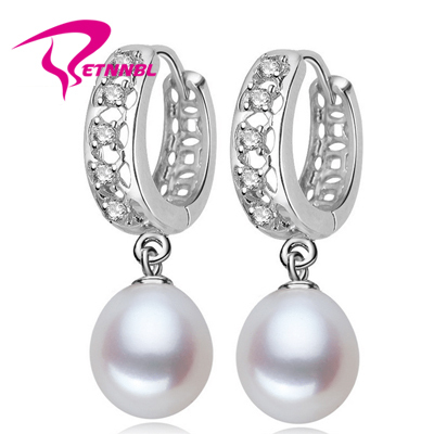 Etnnbl 100 natural pearl earring pearl with 925 sterling for How do i clean sterling silver jewelry