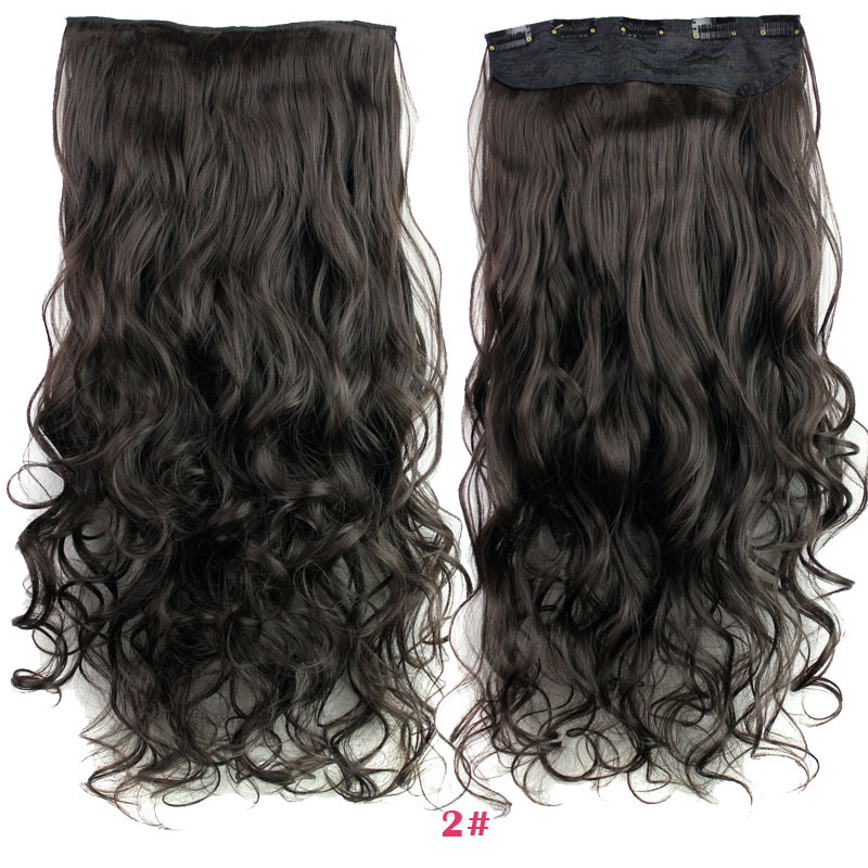 New Long 24inch 60cm Ladies Clip In On Hair Extensions Curly