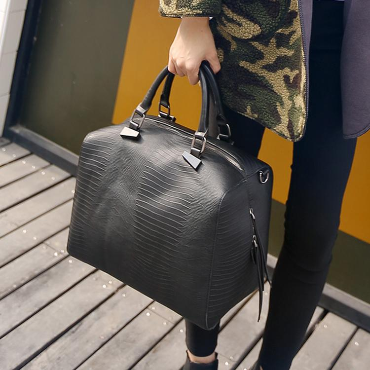 High fashion snake skin pattern leather boston bags women s travel handbags  high quality designer female big pillow tote cabas dc97304d12547