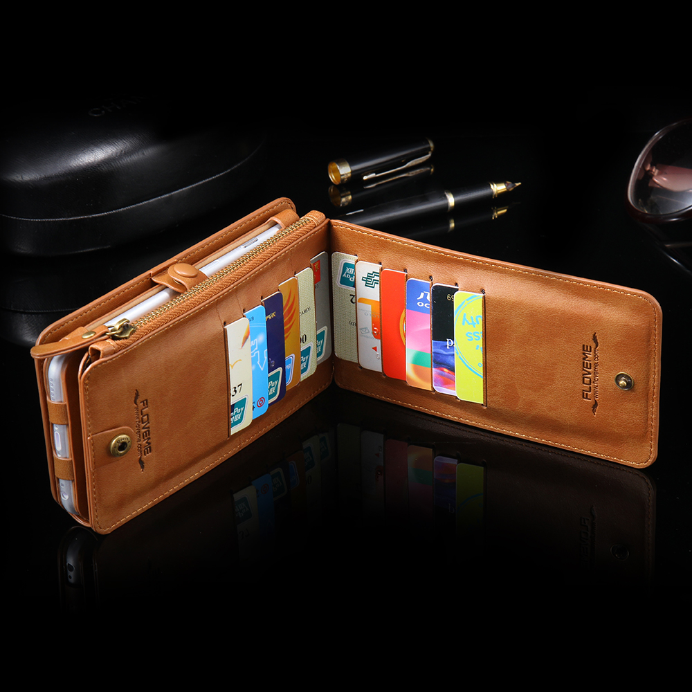 Retro 2 in 1 Folded Wallet Leather Case for iPhone 6 6s 4.7/Plus 5.5 ...