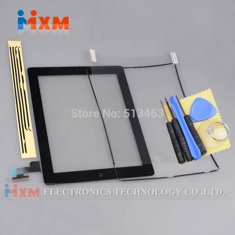 Front Panel Black Screen Touch Glass Digitizer Replacement Home Button  Assembly+Frame For iPad 2 2nd Free Shipping