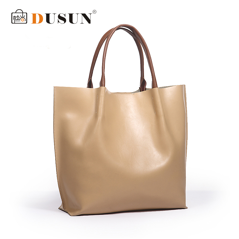 DUSUN High quality women genuine leather handbag beige women bag brand shoulder  bags natural leather bolsa de couro large totes 0a10855dc700d