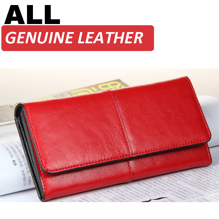 b9c7c0066208 Vintage Genuine Leather Women Wallets Pink Simple Elegant Fashion Long  Zipper Designer Wallet Women Leather Purses Clutch Purse
