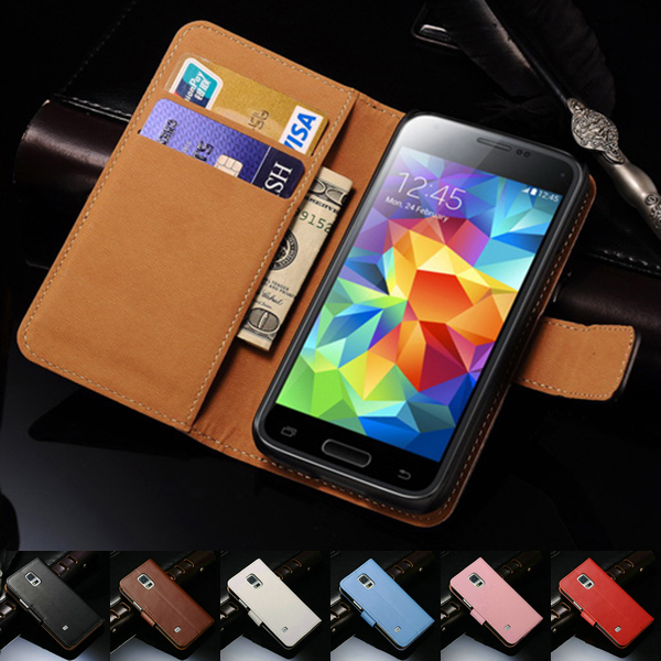 the latest 599cb 3d78b Real Leather Case For Samsung Galaxy S5 Mini G800 Book Style Phone Back  Cover Flip Stand Design With Card Slot Classic Black