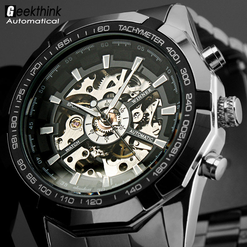 sewor stainless skeleton wrist men leather watches white mens mechanical product transparent s strap silver new