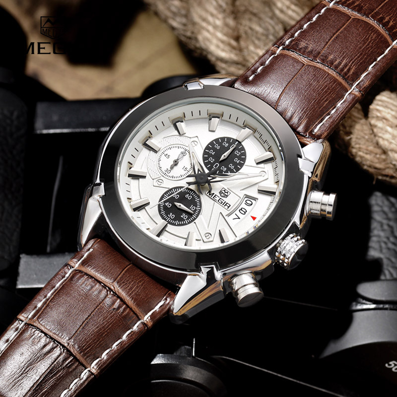 megir sl2020g chronograph function men s titan watch genuine megir sl2020g chronograph function men s titan watch genuine leather luxury men s top brand military watches relogio masculino bee clean products
