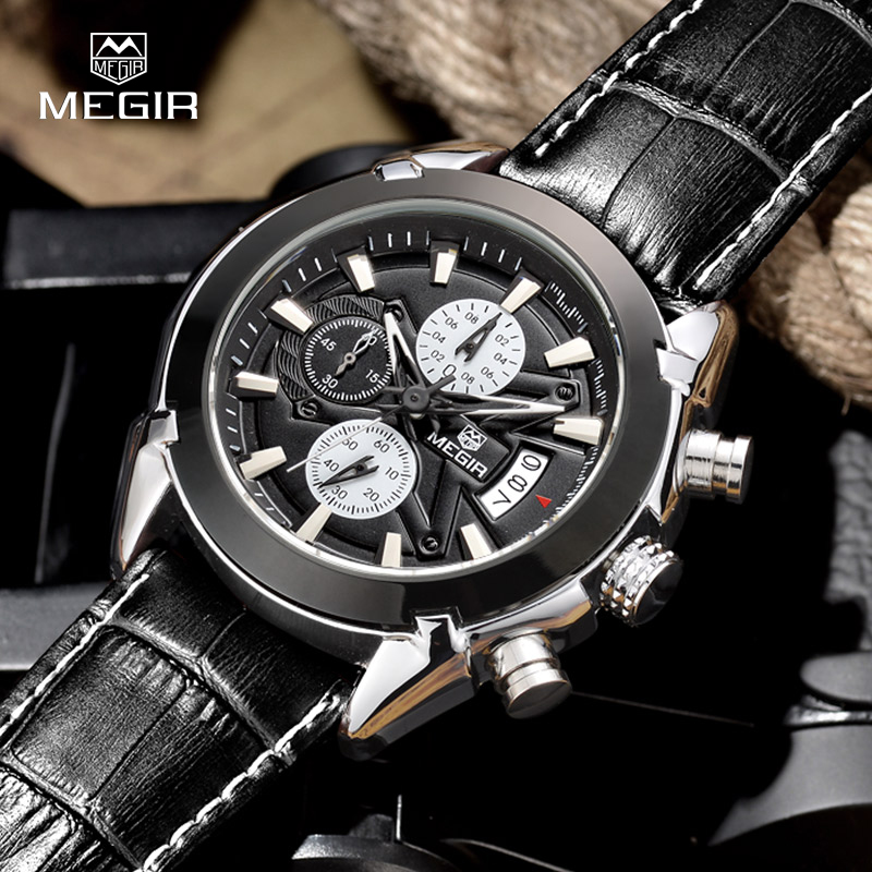 32f38097ee7 MEGIR SL2020G Chronograph Function Men s Titan Watch Genuine Leather Luxury  Men s Top Brand Military Watches Relogio Masculino
