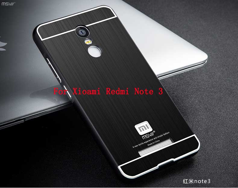 MSVII Xiaomi Redmi Note 3 Metal Case Brushed PC Back Cover & 2.5D Arc Aluminum Frame Phone Bag Cases For Hongmi Note 3 5.5″