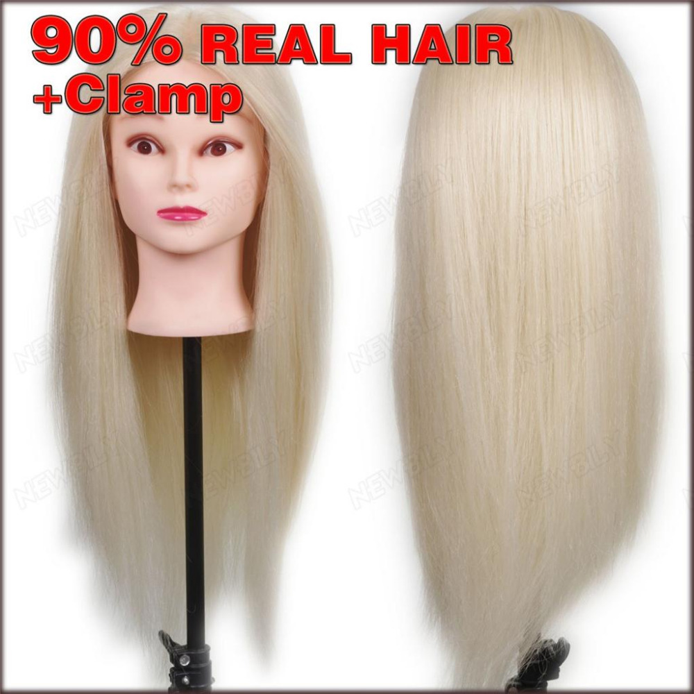 New 24quot; 90% Real Human Hair Training Head practice