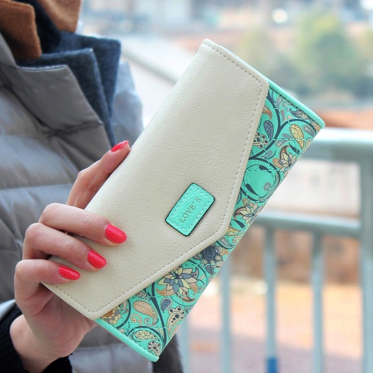 New Fashion Floral Women Wallet 5 Colors Flower Long Wallets Popular  Portable Change Purse Delicate Casual Lady Cash Purse 3f6651b473455