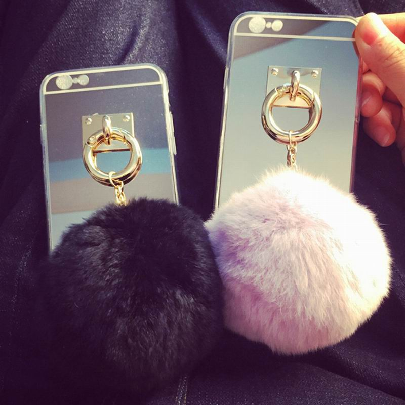 designer fashion 4617d c1700 New Luxury Mirror Style Soft TPU Phone Back Cover with Luxury Colorful  Pendant Fur Ball Phone Case For Iphone 6 6Plus