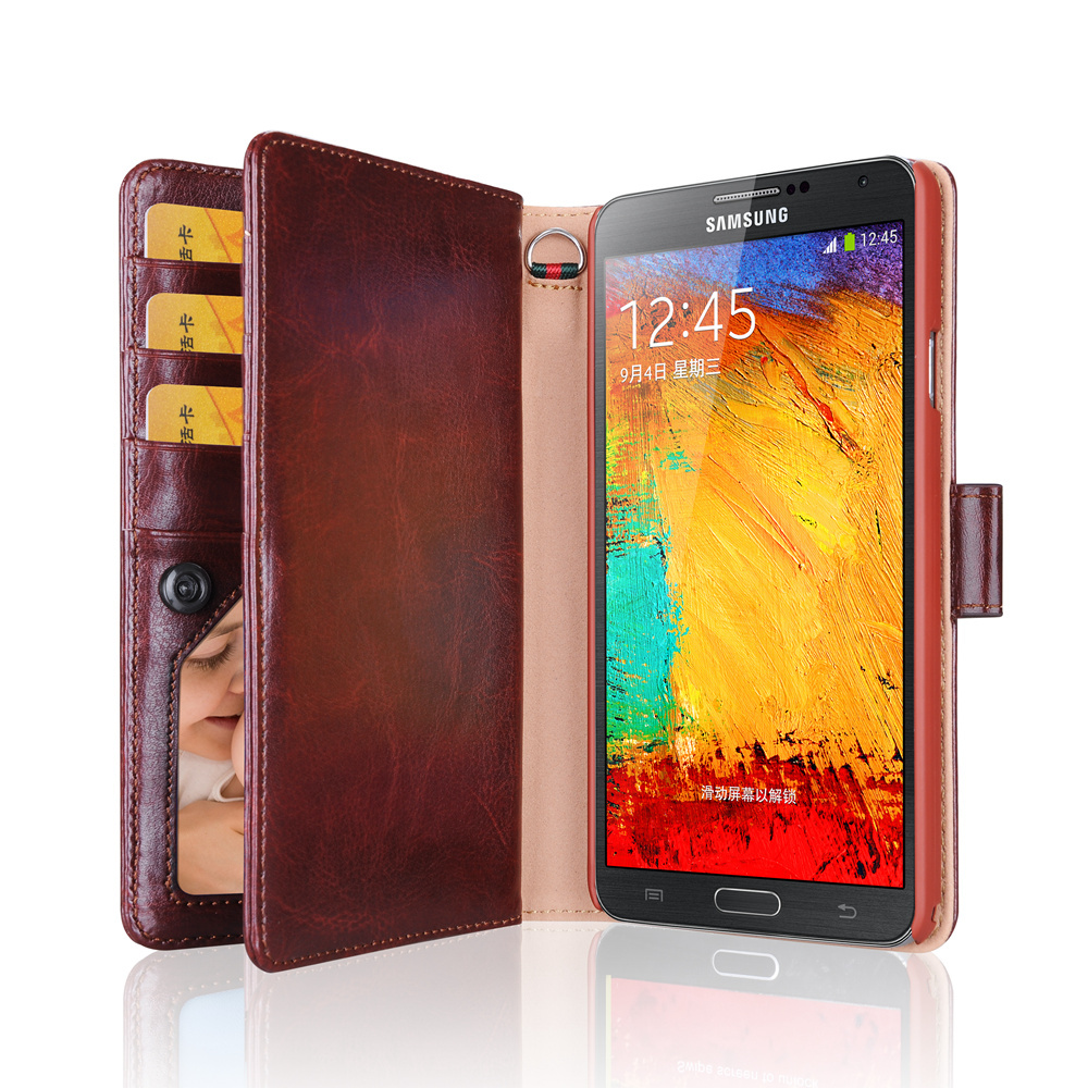 brand new bfd8f 2132c Note 3 Case Multi-function Wallet For Samsung Galaxy Note 3 Case PU Leather  For Galaxy Note 3 Flip Cover With Card Slots