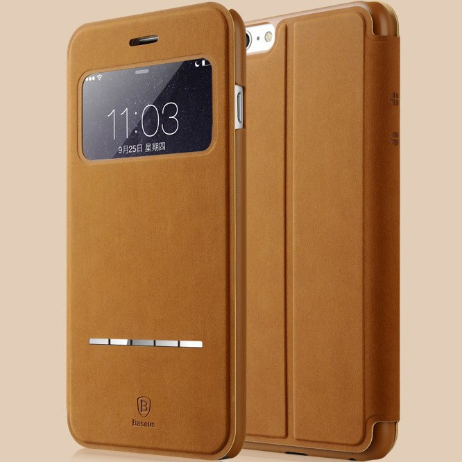 purchase cheap 151e9 71eda Deluxe Original Baseus Terse Series Flip Leather Case for iphone 6 4.7  Ultra Thin Smart Sleep Phone Cases for iphone 6 Plus 5.5