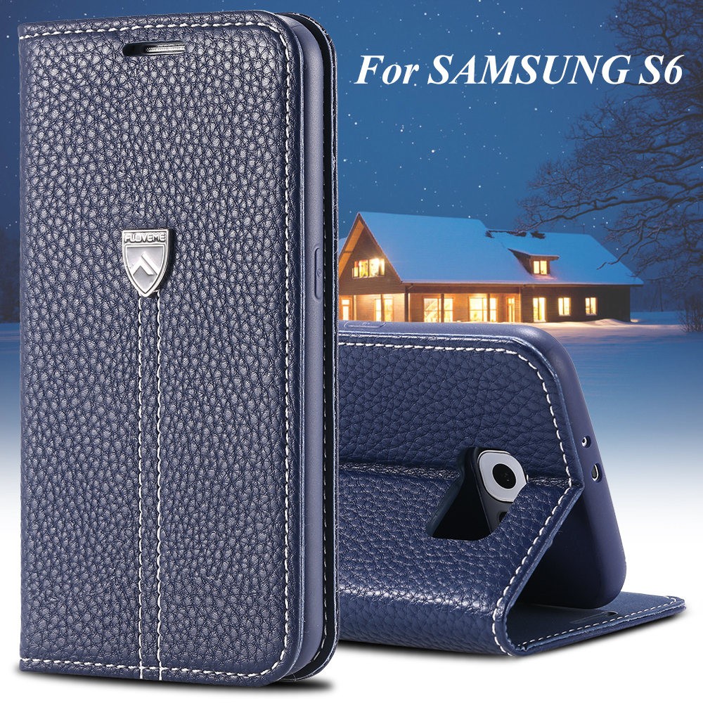 huge selection of a6b2a 71812 Original FLOVEME Brand Luxury Genuine Leather Magnetic Flip Case For  Samsung Galaxy S6 G9200 Stand Wallet Holster Phone Cover S6