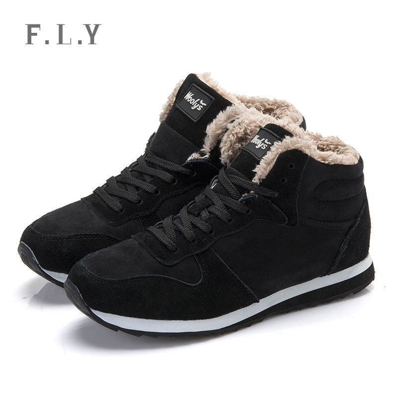sneakers up high Winter casual solid Lace Plus MEN women Warm size qUzVpGSM