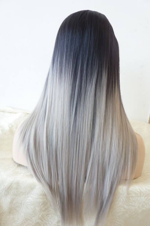 Free Shipping 2014 New Glueless Straight Ombre Tone Color Black And