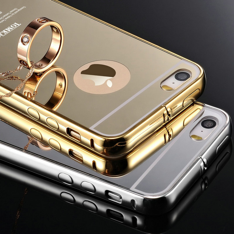 0b1a96cda3 Tomkas Ultra Slim Mirror Case For iPhone 5 Mobile Phone Luxury Aluminum  Acrylic Back Cover For iPhone 5S Hot Sale