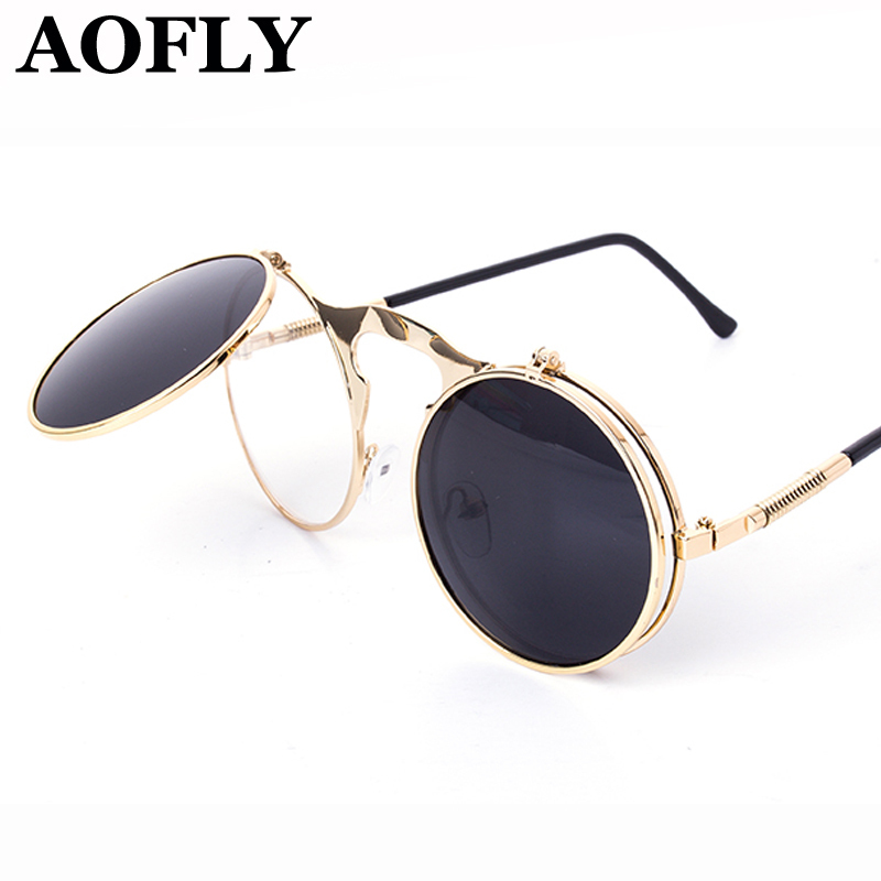 VINTAGE STEAMPUNK Sunglasses round Designer steam punk Metal OCULOS de sol  women COATING SUNGLASSES Men Retro CIRCLE SUN GLASSES 5856370cdb