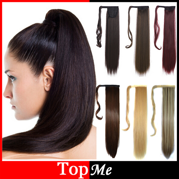 Fashion Woman Hairpiece 22 55cm Long Magic Paste Straight Synthetic