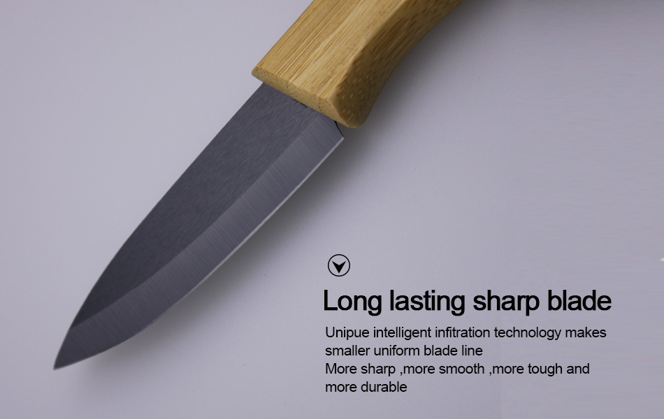High Quality 3 4 5 6 Bamboo Handle With Black Blade Ceramic Knife Set Cooking Tools 3 4 5