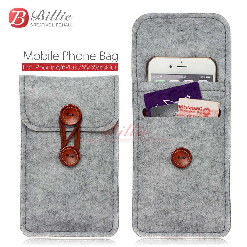 Phone Bag For Iphone 6 Plus 5 Inch Case 4 7 Bags Mobile Cases Cover Wool Felt Wallet