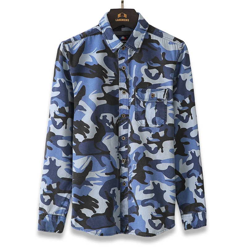 100% cotton Man Casual Camouflage shirt Men Army Tactical Combat ...