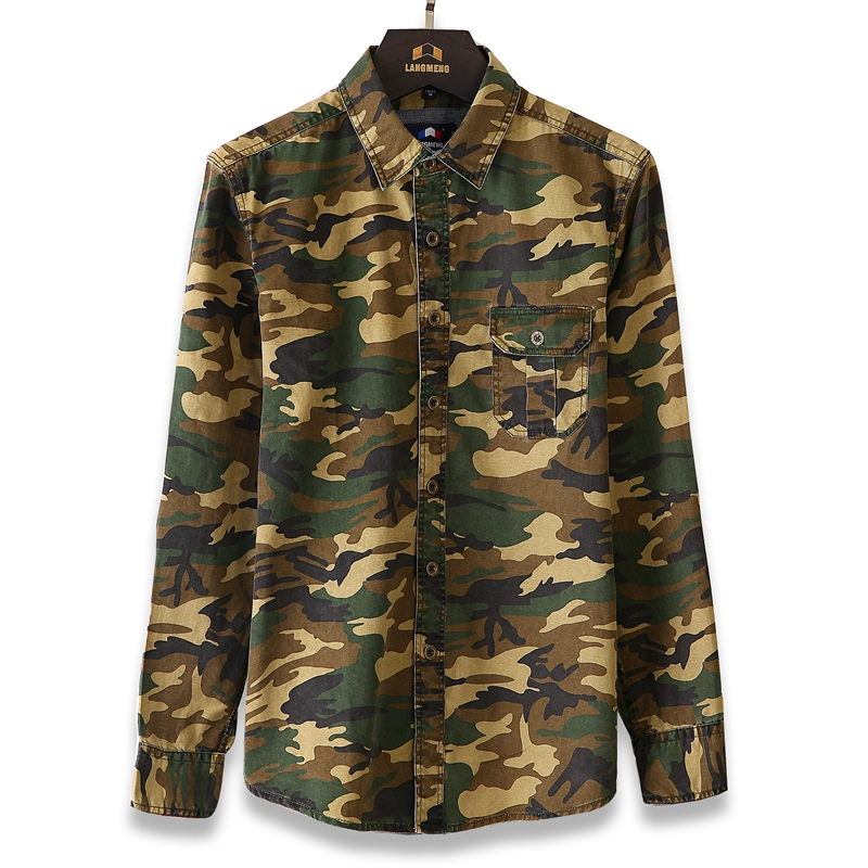Men's Casual Camouflage Shirt Men Cotton Army Green Tactical ...