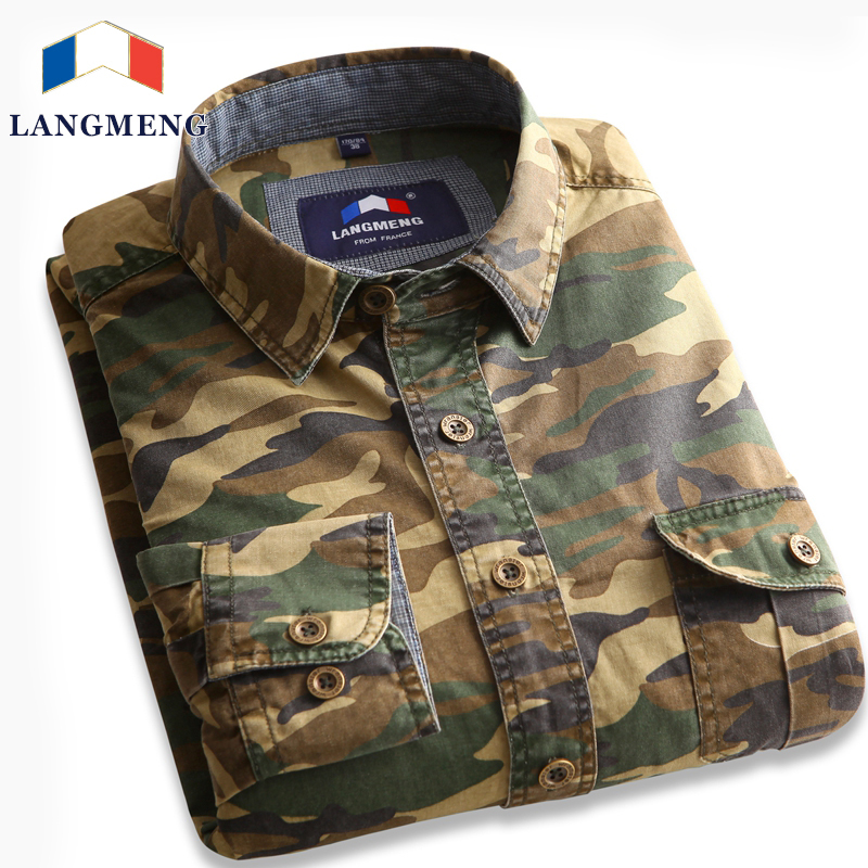 Men 39 S Casual Camouflage Shirt Men Cotton Army Green
