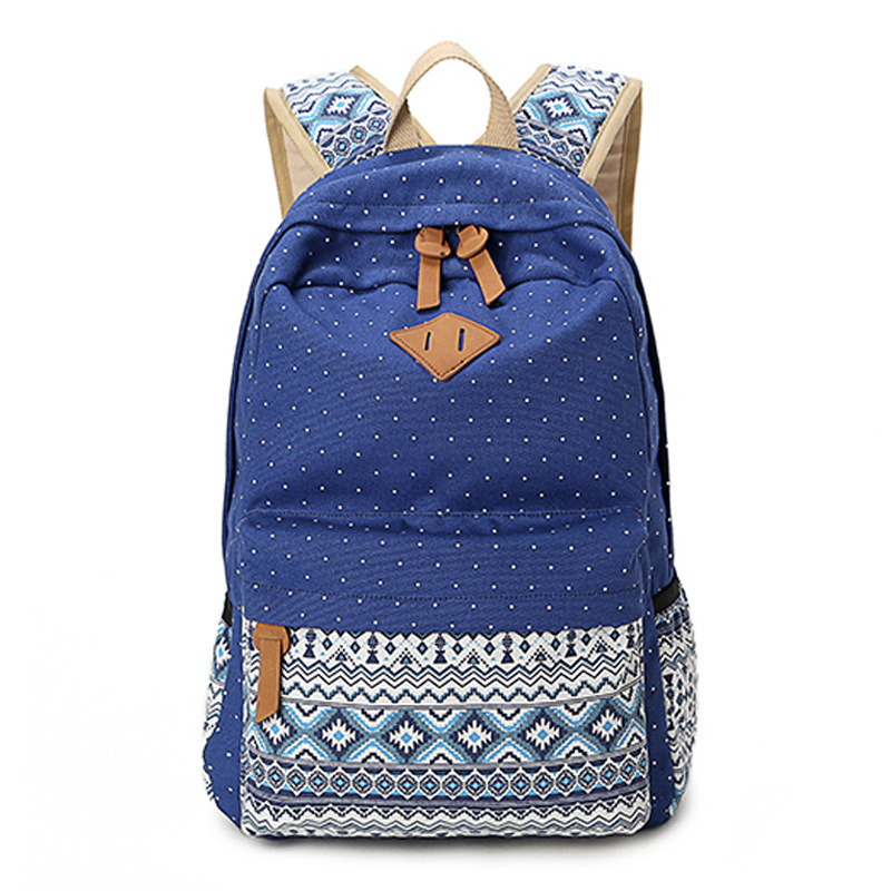 cd9116212d 2015 Vintage Girl School Bags For Teenagers Cute Dot Printing Canvas Women  Backpack ...