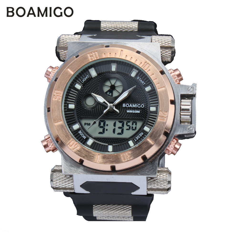 luxury wristwatches led quartz desc watches brand analog amigo product digital men military rubber boamigo strap time dual sports