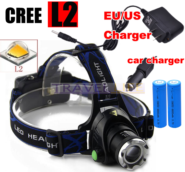2500 Lm Zoomable Cree Led Xm L T6 Headlamp