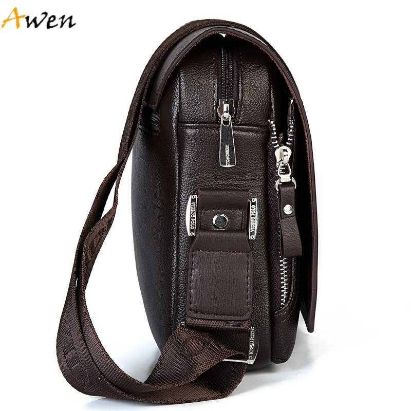 Awen Fashion Business Leather Men Messenger Bags Promotional Small Crossbody Shoulder Bag For Male Casual Man