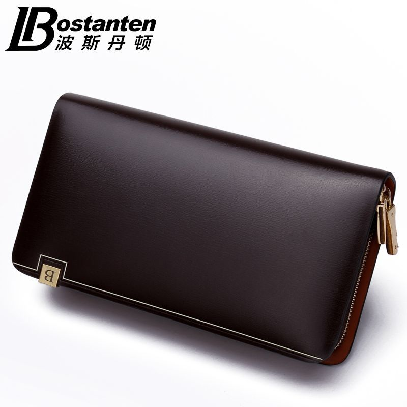 ca5c1792f88 BOSTANTEN Men's Fashion Genuine Leather Casual Zipper Large capacity Design  Cowhide Wallet Hand Bag Clutch Purse