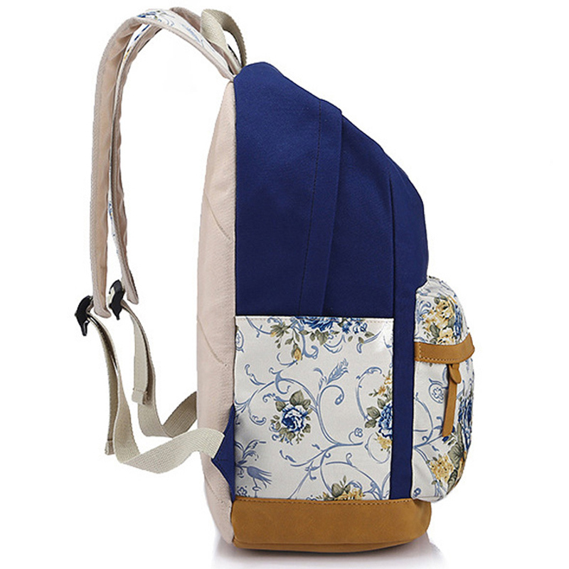 52f5a0049e Brand Genuine Quality Leather Canvas Bag Backpack Women Backpack School  Girl Floral Backpack Printing ...