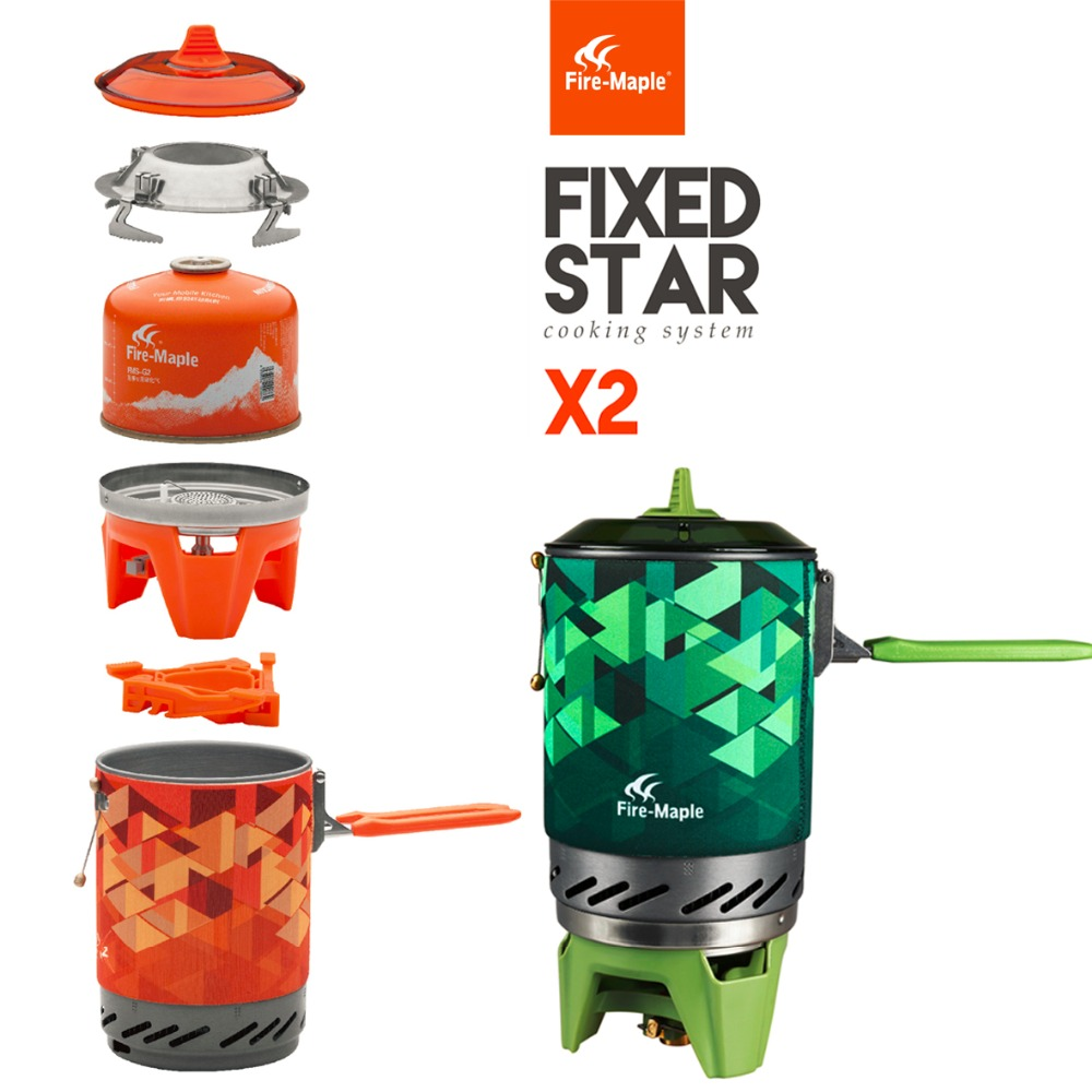 FireMaple Compact One Piece Camping Stove Heat Exchanger Pot Equipment Set Flash Personal Cooking System FMS X1 X2