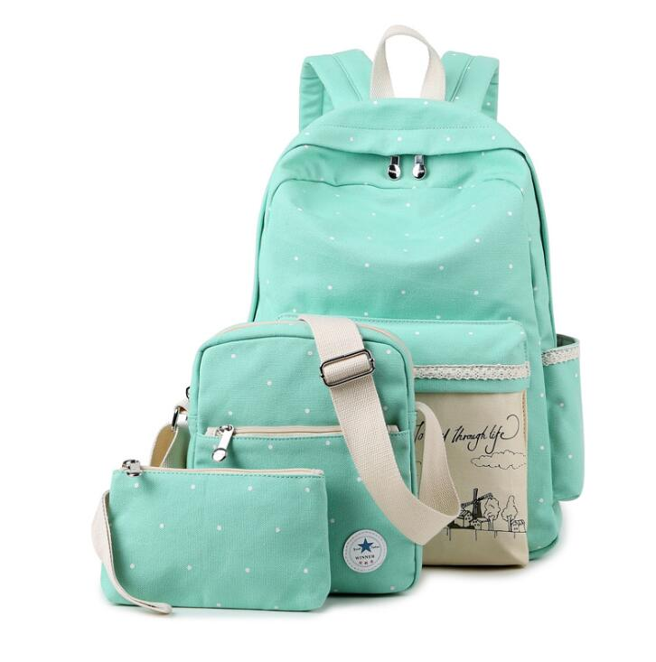 Korean casual women bookbags canvas printing backpack sets cute ...