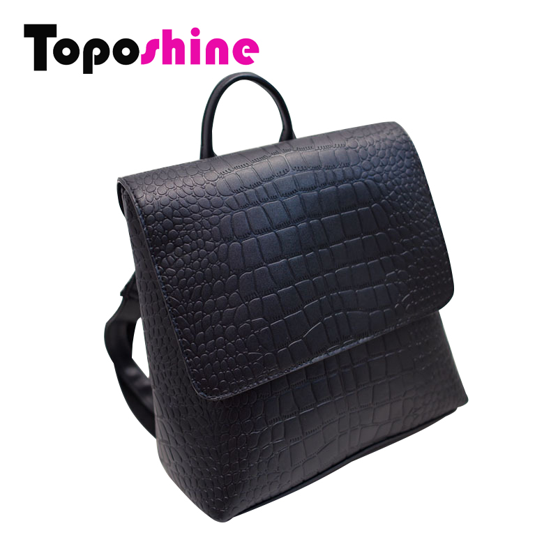 75fa058f83 New Arrival PU Leather Square Aligator Women Backpack Solid Simple ...