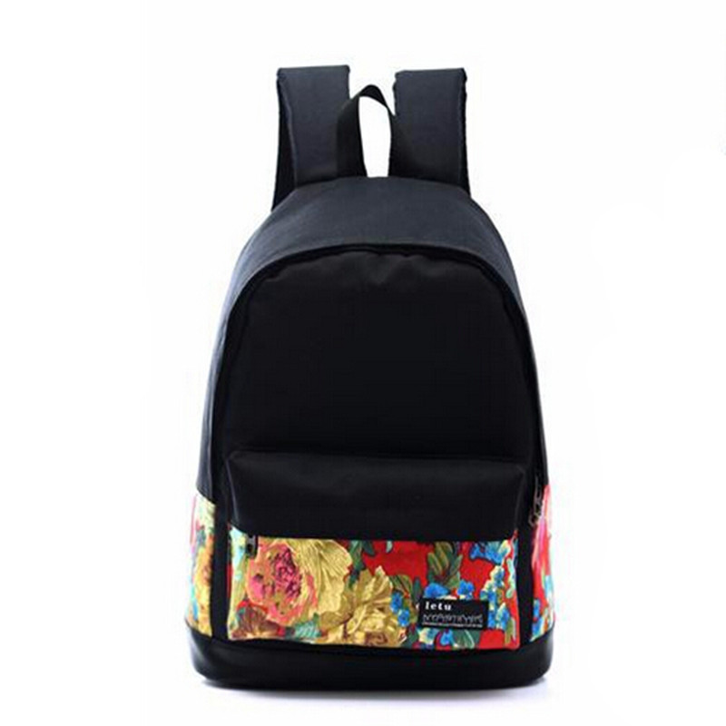 QG7243 korean Printing Women's Canvas Backpack Printed School bag ...