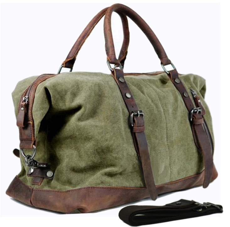 cc10a50d6f Vintage military Leather Canvas men travel bags men weekend luggage ...